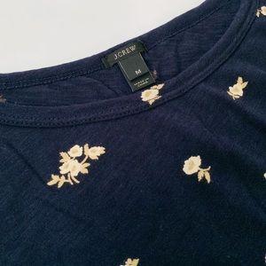 J. Crew Tops - J Crew Navy Floral Short Sleeve Tee